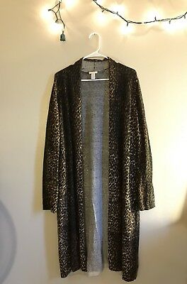 CHICO'S Size 3 Womens Duster Cheetah Leopard Cardigan Kimono Cover Up XL Plus