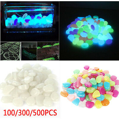 100-500X Colorful Fish Tank Aquarium Garden Glow In The Dark Stones Pebbles Rock