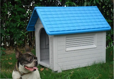 Durable Dog House Kenenl - Large  Blue / Red