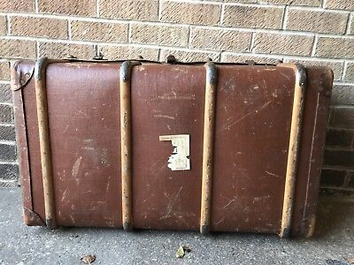 Vintage 20s Deco Trunk Bentwood Brass Rivets Banding Table Storage 1920s Travel