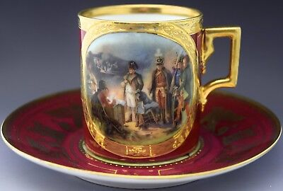 Napoleon Portrait Tea Cup & Saucer Crown over N Mark NO RESERVE Lot 58 of 90