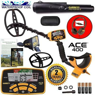 Garrett ACE 400 Metal Detector with DD Waterproof Search Coil and Pro-Pointer II