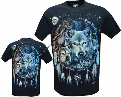 Wolf Pack Native American Indian Eagle Biker T- Shirt Front & Back Print M -3XL