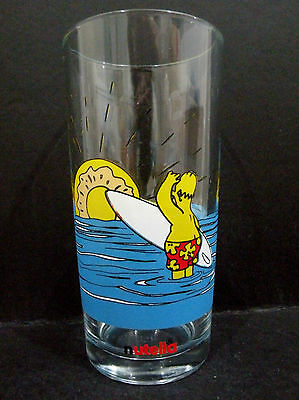 The Simpsons / Nutella promotional Glass - Homer Simpson surfing  vgc - 2 avail.