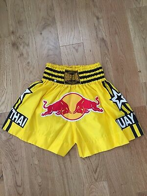 Suprema MUAY THAI Red Bull Logo Yellow Boxing Shorts Size L