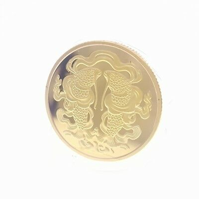 Commemorative Coin Collection Tibetan Buddhist Fishes Golden Coins Money Buddha