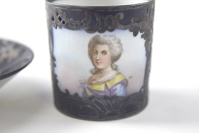 Antique Unmarked French Portrait Demitasse Cup & Saucer #82 - NO RESERVE