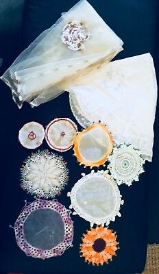 Vintage Retro Beaded Jug Covers & Table Cloth & Food Cover 10 Pieces