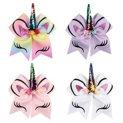 Multi-color Girls' Unicorn-pattern Big Bow Large Glitter Ponytail Hair Brand