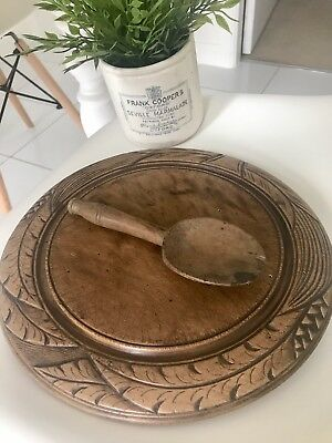 Beautiful Old Deeply Carved Wooden Bread Chopping Board Wheat