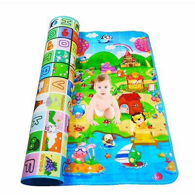 Double-side Nontoxic Baby Kids Play Mat Floor Rug Picnic Cushion Crawling Mat AU
