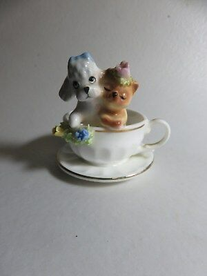 """Napcoware Cat And Dog In Cup 2 1/8"""" Tall"""