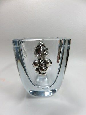 Vintage  Stromberg Crystal Vase With Sterling Silver Grapes Signed