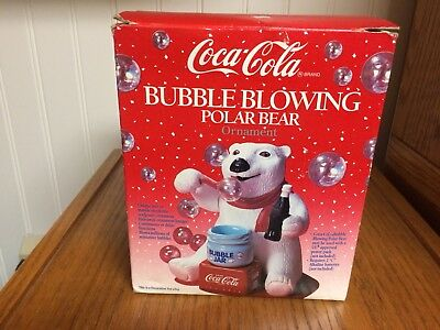 Vintage Coca Cola Bubble Blowing Polar Bear by Kurt Adler - 1996 -  New in Box