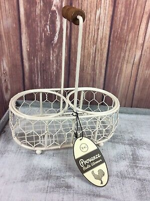 T and G Woodware Provence 2 Jar Serving Holder in Cream Wireware