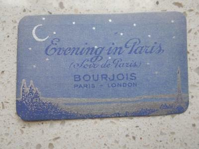 WW2 1940 Bourjois Paris Perfume card Evening in Paris France calendar London