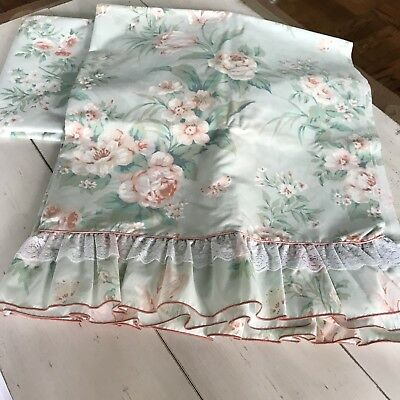 Vintage Cottage Shabby Beach Pale Aqua Sheet Set Peach Roses Full-size  NWOT