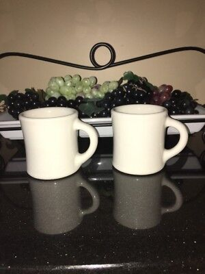 2 Vintage Coffee Mugs White Restaurant Ware Heavy Thick 50s(?) Era Diner Style