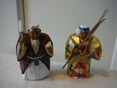 Antique Vintage Oriental Wood Hand-Carved Hand-Painted Figures (2), signed - EXC