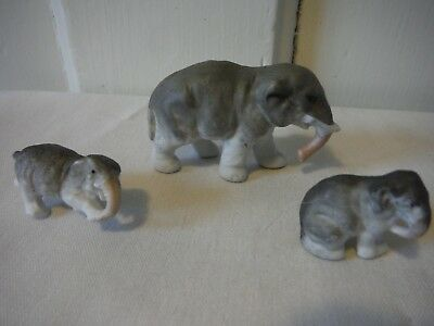 Antique Vintage Hand-Painted Bisque Elephant figurines, group of 3, Germany *VGC