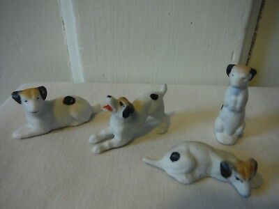 Antique Vintage German Bisque Dog Figurines, group of 4, hand-painted - VGC