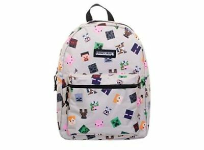 "Minecraft Characters All Over Backpack 16""School Book Bag Tote Full Size NWT"