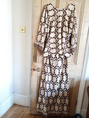Ladies trad African 3 pc outfit cream brown  geometric leaf cotton polyester 2XL