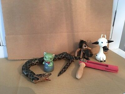 5 Vintage Toy / Ornaments Bamboo Twist Snake Rattle Monkey Pencil Sharper Cow