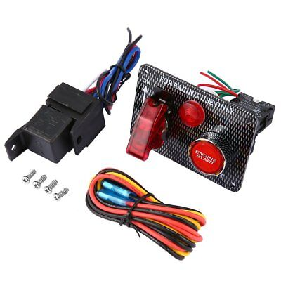 12V Racing Car Engine Start Push Button Ignition Switch Panel Red LED Toggle FK
