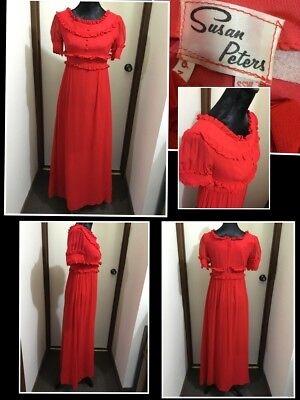 Vintage Retro Susan Peters 1960's Red Maxi Dress Small  Empire Edwardian Style