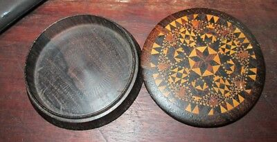 Vintage Wood with Inlays Pin or Needle Box Sewing