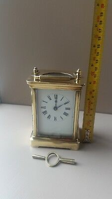 Small French brass carriage clock, thought to be Duverdrey and Bloquel, working