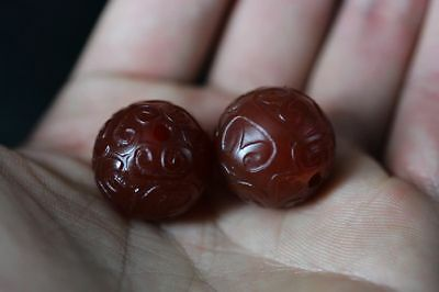 2 Pcs Tibetan natural red Agate *Fret* Totem dZi Ball Beads