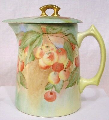 Vintage Edwin Knowles China Co. Covered Batter Pitcher HP Hand Painted Cherries