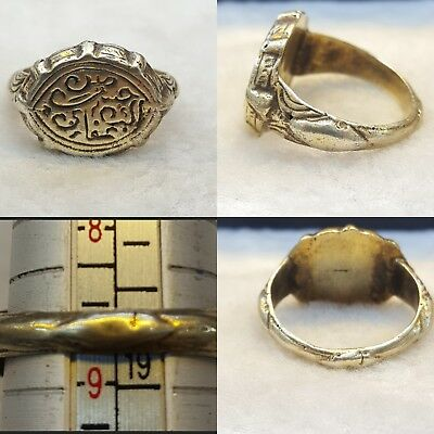 Very Rare Solid Antique Roman Silver Ring With Lovely Writing Carving # RA1