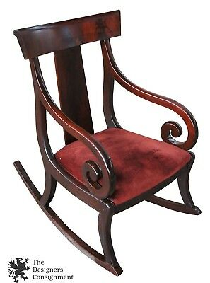Antique Flamed Mahogany Federal Empire Style Rocking Chair Scrolled Arms Rocker