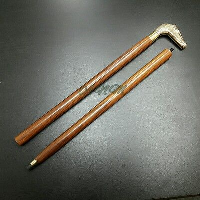 Antique Wooden Walking Stick Cane Brass Hours Handle Vintage Collectible Gift