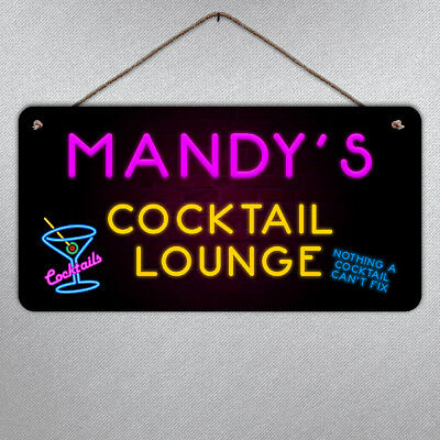 Personalised Large Neon Cocktail Plaque- Metal Sign Custom Bar Bright Gift Fun