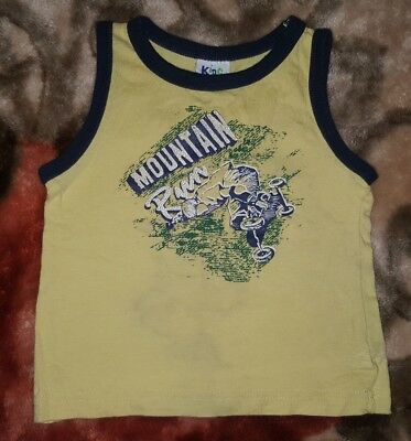 BABY BOYS Sz 0 yellow & blue KIDS STUFF tank top CUTE! COOL! SKATEBOARDING!