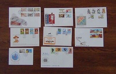 Zimbabwe 8 FDC 1982-84 Olympics TB Scouts Paintings Trade Fair Communications