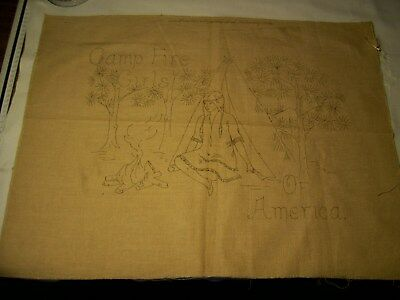 camp fire girls embroidery stencilcloth 23 1/2 in by 17 3/4 in