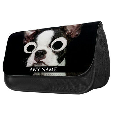 Personalised Googly Eye Utility Dogs Pencil Case Boston Terrier French Bulldog