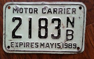 1989 New Brunswick Motor Carrier License Plate #2183 NB Expires May 15, 1989