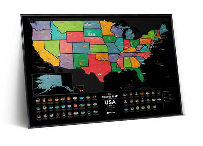 Wall Poster Map With Scratch Surface Usa Black Poster Birthday Gift+Free Gift