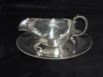 Antique Silver Plated Sauce/gravy Boat On 3 Ornate Feet With Matching Stand/tray