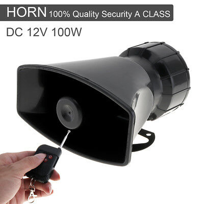 100W Loud Car Warning Alarm Police Fire Siren Horn Loud Speaker 7 Sound w Remote