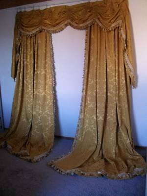French Chateau Drapes & Swag Pelmet, Gold Damask  With Gilded Tieback Rods