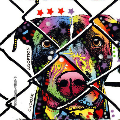 "Dean Russo - Pop Art Dog Coaster Tiles w/Easel - 4""x 4"" - Pit Bull - 78401"