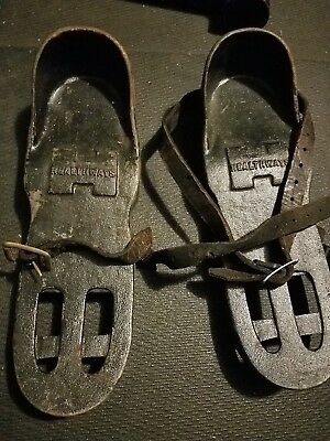 Pair Antique/Vintage Barbell Cast Iron Health Shoe HEALTHWAYS with straps