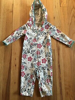 tea collection 6-12 months girl romper With Hood